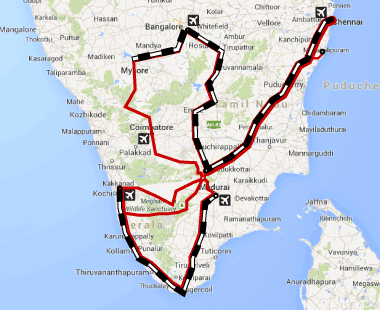Transport map of southern India